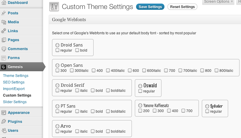 Google Webfonts, Genesis, and WordPress